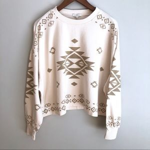 Z Supply Oversized Cropped Aztec Sweatshirt Crew